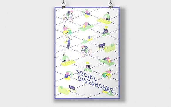 Social Distancers pattern A3 poster mock