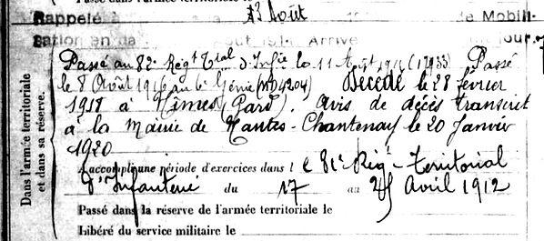 pallac pierre louis mellac nimes 14-18 Finistère Non Mort France Réformé maladie tuberculose suicide fusillé accident