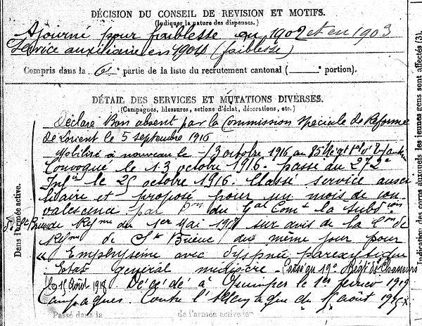 danielou louis marie quimperle quimper 14-18 Finistère Non Mort France Réformé maladie tuberculose suicide fusillé accident