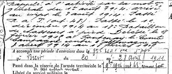creachminec jean marie saint sauveur fontenay comte 14-18 Finistère Non Mort France Réformé maladie tuberculose suicide fusillé accident