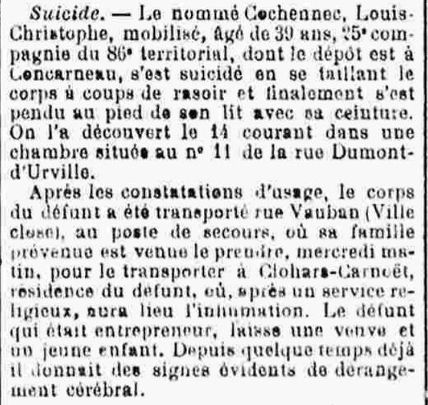 cochennec christophe louis concarneau 14-18 Finistère Non Mort France Réformé maladie tuberculose suicide fusillé accident