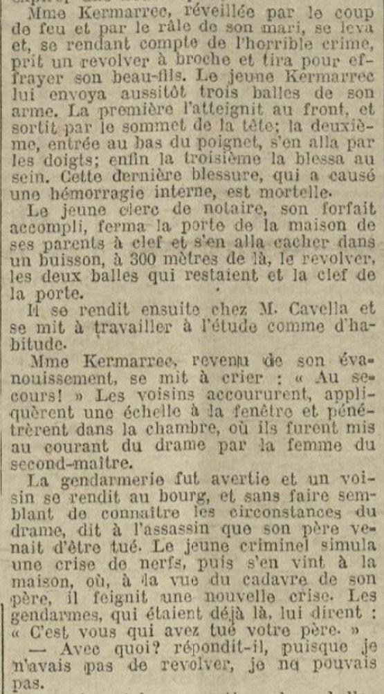 Kermarrec François Yves Marie Christophe taule cleach morlaix parricide notaire bagne guyane bagnard
