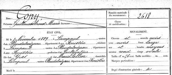 Copy Guillaume Ernest Marie Lampaul ploudalmezeau patrick milan anne apprioual guerre 1914 1918 14 18 patrimoine histoire plouguin