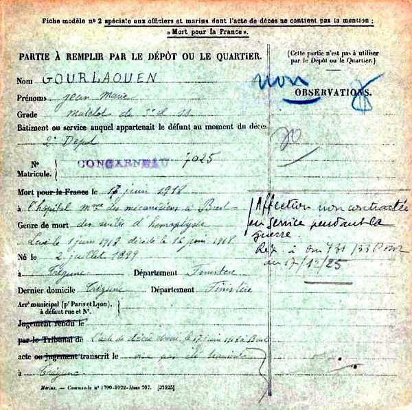 gourlaouen jean marie tregunc brest 14-18 Finistère Non Mort France Réformé maladie tuberculose suicide fusillé accident