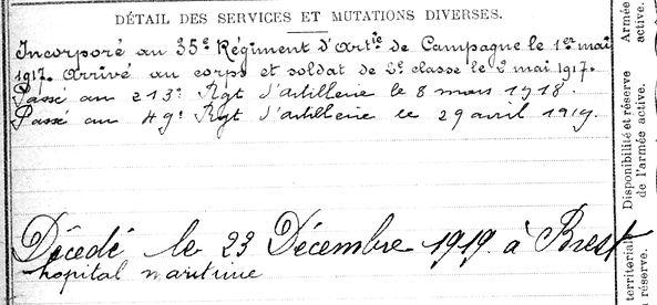 cleguer jean françois marie  plouescat brest 14-18 Finistère Non Mort France Réformé maladie tuberculose suicide fusillé accident