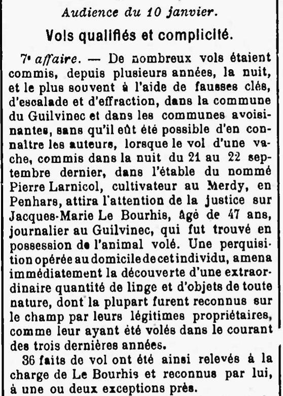 Le Bourhis Jacques Marie diquelou loctudy guilvnec bagne guyane bagnard finistere beurtric