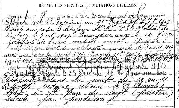 laviec françois marie saint jean doigt 14-18 Finistère Non Mort France Réformé maladie tuberculose suicide fusillé accident