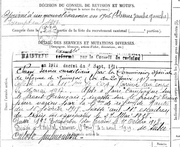 tassy pierre coentin benodet laennec paris 14-18 Finistère Non Mort France Réformé maladie tuberculose suicide fusillé accident