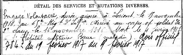 le malefant yvon louis baur nantes 14-18 Finistère Non Mort France Réformé maladie tuberculose suicide fusillé accident