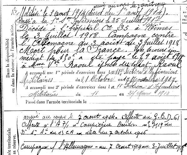 raoul françois pierre marie melgven nimes 14-18 Finistère Non Mort France Réformé maladie tuberculose suicide fusillé accident