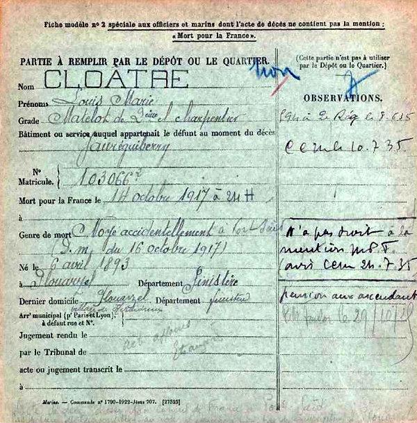cloatre louis marie plouarzel jaureguiberry port said egypte 14-18 Finistère Non Mort France Réformé maladie tuberculose suicide fusillé accident