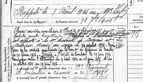 Amis Goulven Plabennec Paiboeuf Guerre 14-18 Finistère Non Mort France Réformé maladie tuberculose suicide fusillé accident