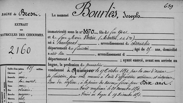 Bourlès Joseph huelgoat evade bagne guyane bagnard finistere