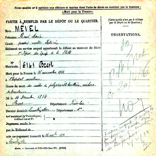 mevel rene marie brest 14-18 Finistère Non Mort France Réformé maladie tuberculose suicide fusillé accident