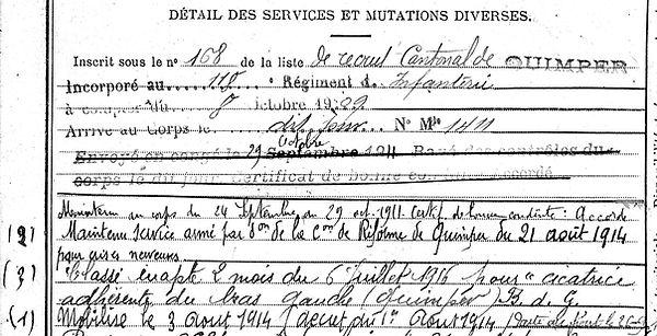 cosqueric pierre marie kerfeuteun marcilly le pave 14-18 Finistère Non Mort France Réformé maladie tuberculose suicide fusillé accident