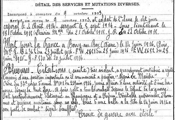 Briec Pierre Marie Pont Labbé Guerre 1914 1918 14-18 Finistère Finistérien Mort pour la France Berry au Bac cote 108 Sapigneul Choléra Moscou Mauchamp