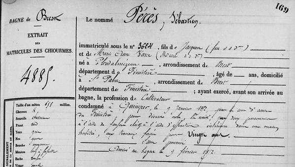 Pérès Sébastien ploudalmezeau crime saint pabu bagne guyane bagnard