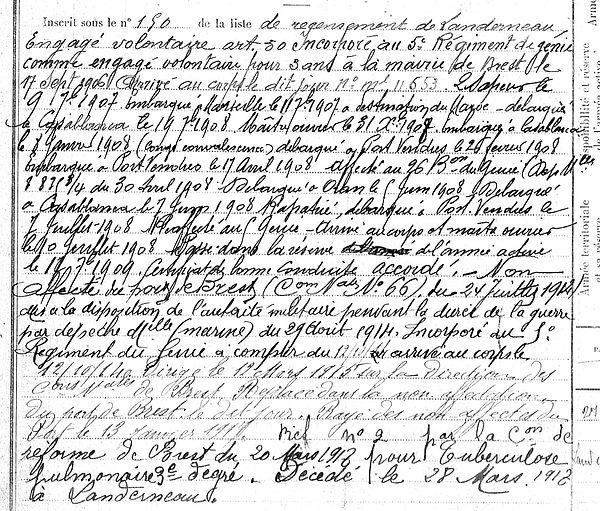 andé François Marie Landerneau Brest Guerre 14-18 Finistère Non Mort France Réformé maladie tuberculose suicide fusillé accident