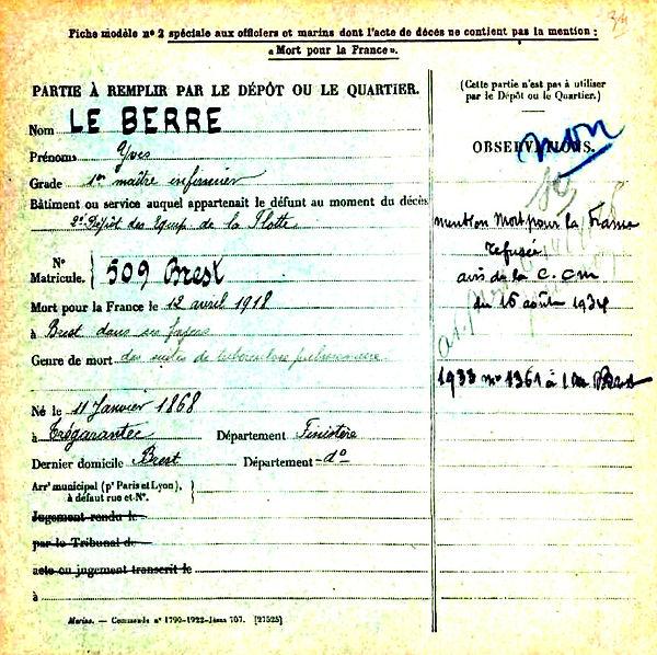 le berre yves tregarantec brest 14-18 Finistère Non Mort France Réformé maladie tuberculose suicide fusillé accident