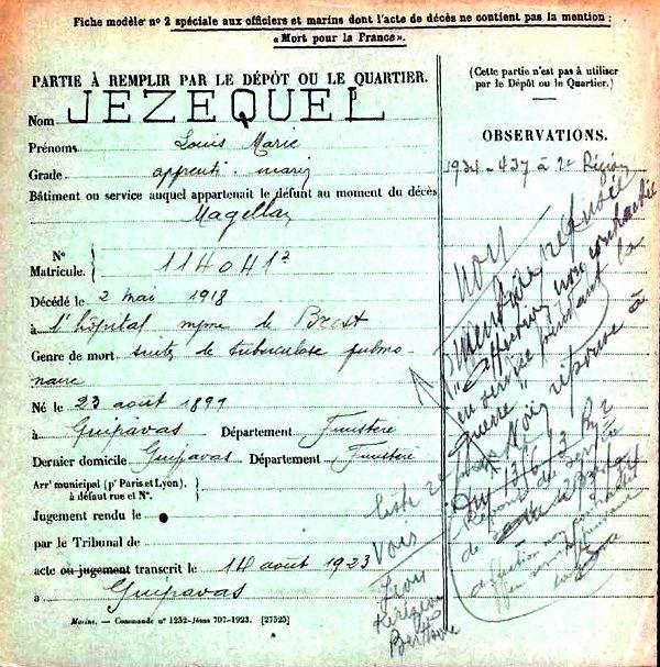 jezequel louis marie guipavas brest magellan armorique brest 14-18 Finistère Non Mort France Réformé maladie tuberculose suicide fusillé accident