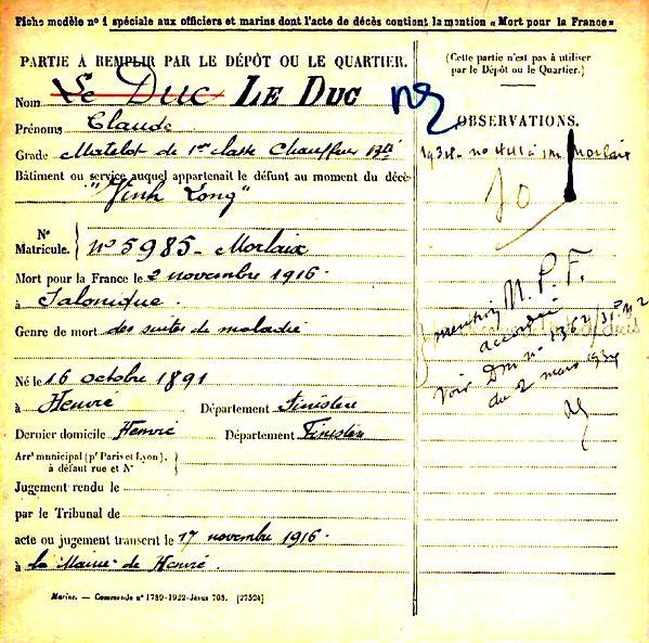 le duc claude henvic vinh long hopital salonique grece 14-18 Finistère Non Mort France Réformé maladie tuberculose suicide fusillé accident