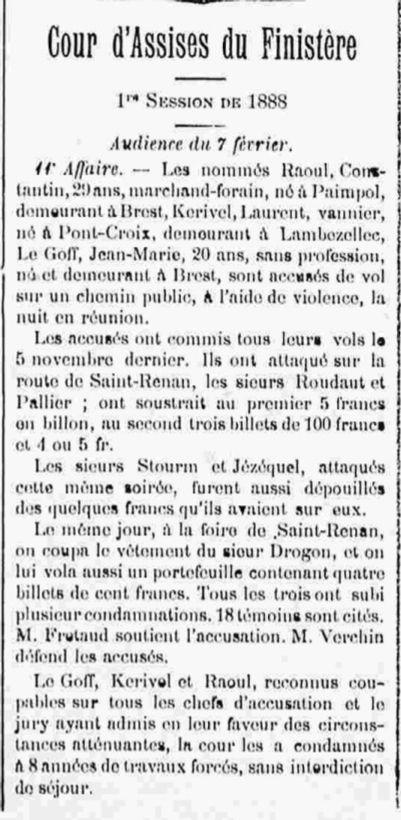 Le Goff Jean Marie morvant brest cayenne bagne guyane bagnard