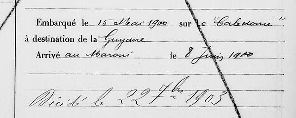 Quémeneur Jean Marie landunve saint pierre quilbignon brest bagne bagnard guyane colin