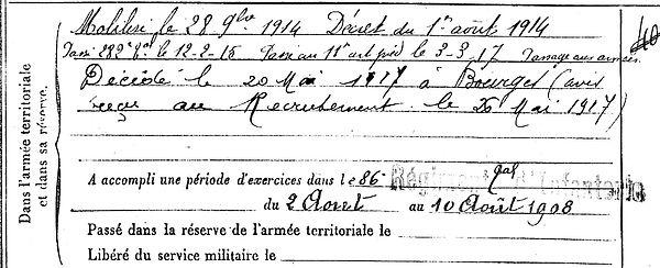 cozic françois spézet bourges 14-18 Finistère Non Mort France Réformé maladie tuberculose suicide fusillé accident