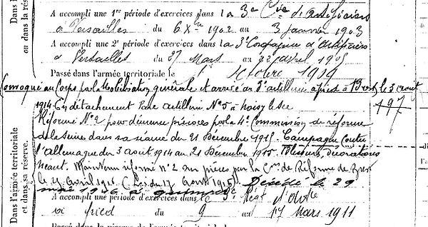 seite olivier roscoff noisy sec quimper 14-18 Finistère Non Mort France Réformé maladie tuberculose suicide fusillé accident