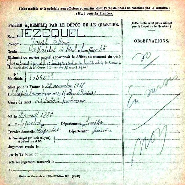 jezequel joseph marie loperhet pontoise 14-18 Finistère Non Mort France Réformé maladie tuberculose suicide fusillé accident