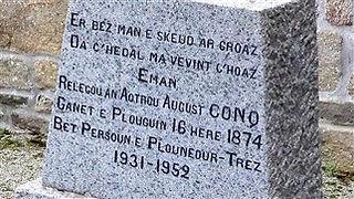 Paotr treoure tréouré tombe poete Plouguin Patrimoine Histoire auguste conq paotr treoure poete pretre tombe