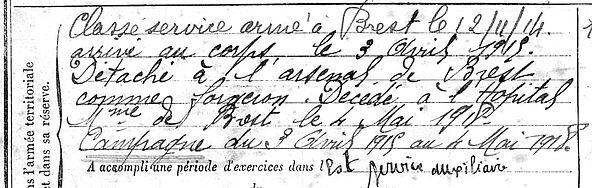 boedec jen françois plouider brest 14-18 Finistère Non Mort France Réformé maladie tuberculose suicide fusillé accident
