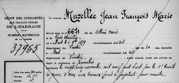 Muzellec Jean François Marie brest caer pape guyane bagne bagnard finistere
