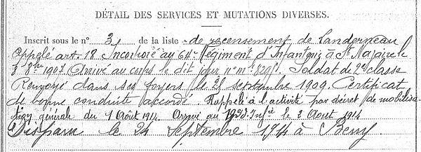 Jaoun Mathurin François Marie Landudec Guerre 1914 1918 14-18 Finistère Finistérien Mort pour la France Berry au Bac cote 108 Sapigneul Choléra Moscou Mauchamp