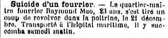 mao remond raymond raimond brest 14-18 Finistère Non Mort France Réformé maladie tuberculose suicide fusillé accident