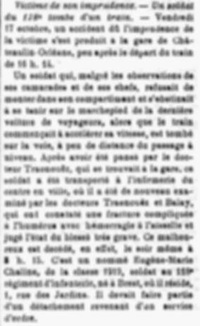 Chaline eugene marie chemin fer brest chateaulin 14-18 Finistère Non Mort France Réformé maladie tuberculose suicide fusillé accident