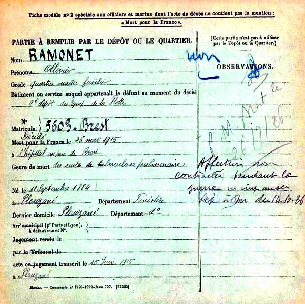 ramonet olivier plouzane brest 14-18 Finistère Non Mort France Réformé maladie tuberculose suicide fusillé accident