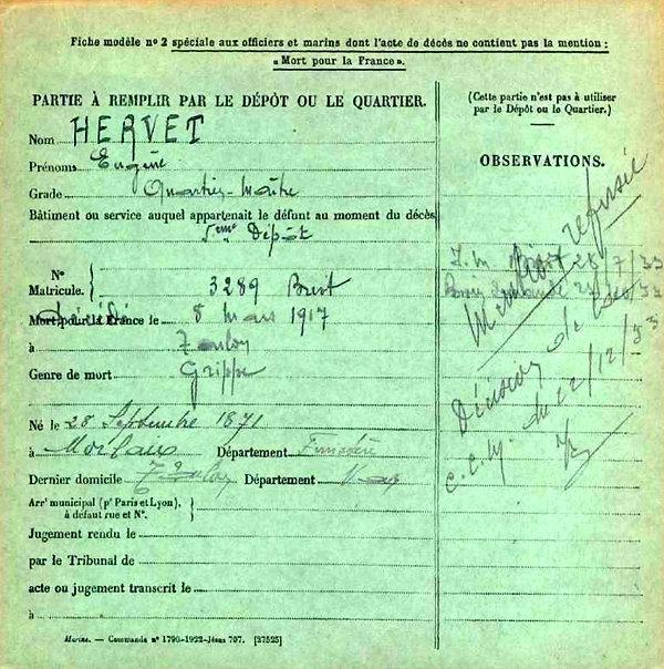hervet eugene morlaix toulon 14-18 Finistère Non Mort France Réformé maladie tuberculose suicide fusillé accident