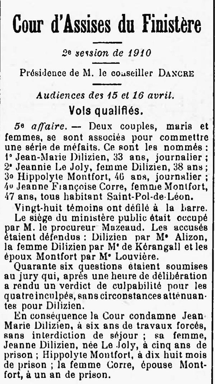 Dilizien Jean Maurice kerbrat saint pol leon montfort corre bange guyane bagnard