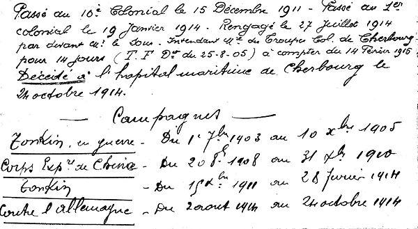 thaes louis emile brest tonkin cherbourg chine 14-18 Finistère Non Mort France Réformé maladie tuberculose suicide fusillé accident