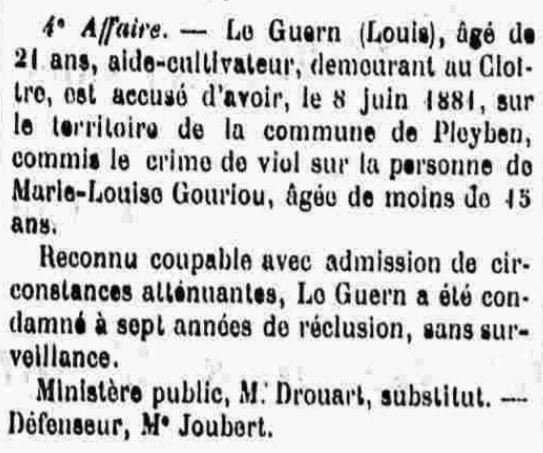 Le Guern Louis saint thois plouye plonevez faou bagne guyane bagnard finistere