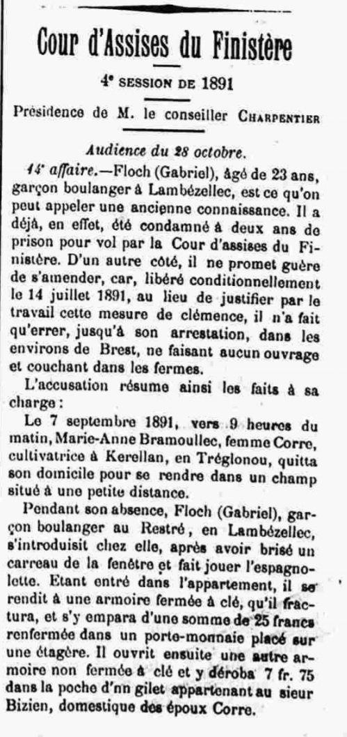 Floch Gabriel mailloux plouzané bagne bagnard guyane