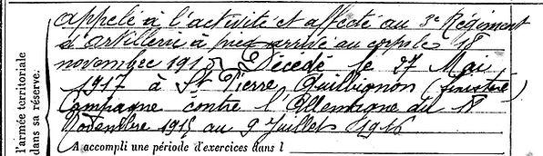 le ber hervé marie sizun brest saint pierre quilbignon 14-18 Finistère Non Mort France Réformé maladie tuberculose suicide fusillé accident