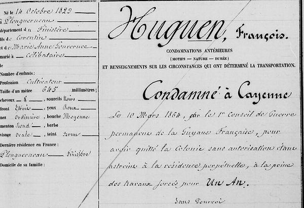 Huguen François cayenne bagne guyane plouguerneau finistere bagnard