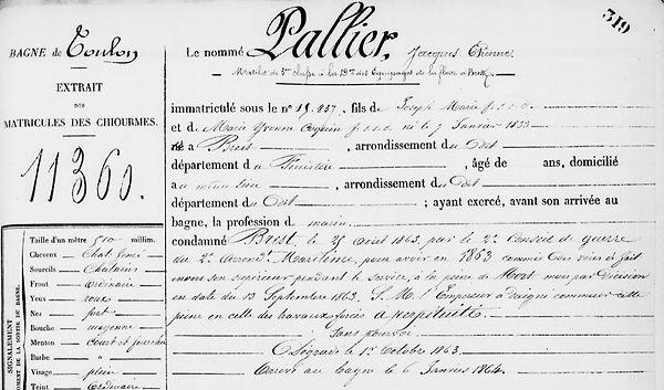 Pallier Jacques Etienne brest peine mort bagne guyane bagnard conseil guerre