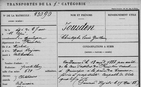 JOURDEN Christophe Louis Guillaume saint yvi quimper kerjosse bagne guyane bagnard