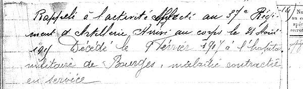 rumene joseph marie plouigneau bourges 14-18 Finistère Non Mort France Réformé maladie tuberculose suicide fusillé accident