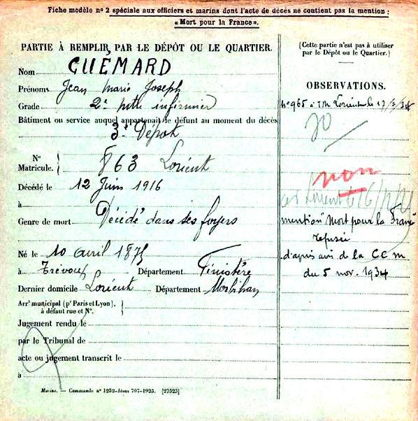 guemard jean marie joseph trevoux lorient 14-18 Finistère Non Mort France Réformé maladie tuberculose suicide fusillé accident