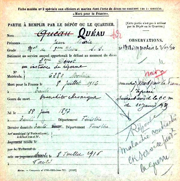 queau jean marie taule 14-18 Finistère Non Mort France Réformé maladie tuberculose suicide fusillé accident