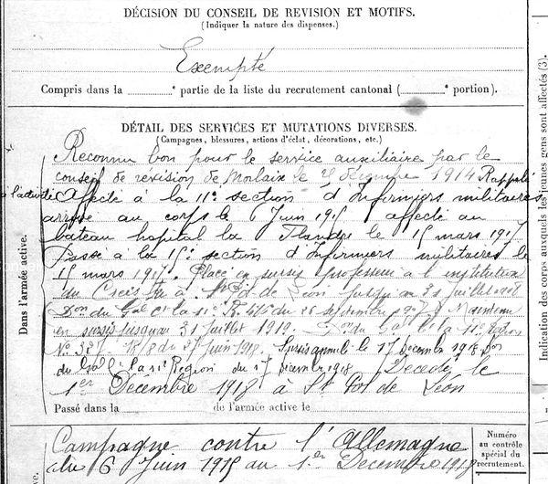 riouallon maurice alexandre marie saint pol leon 14-18 Finistère Non Mort France Réformé maladie tuberculose suicide fusillé accident